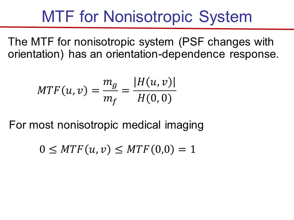 MTF for Nonisotropic System