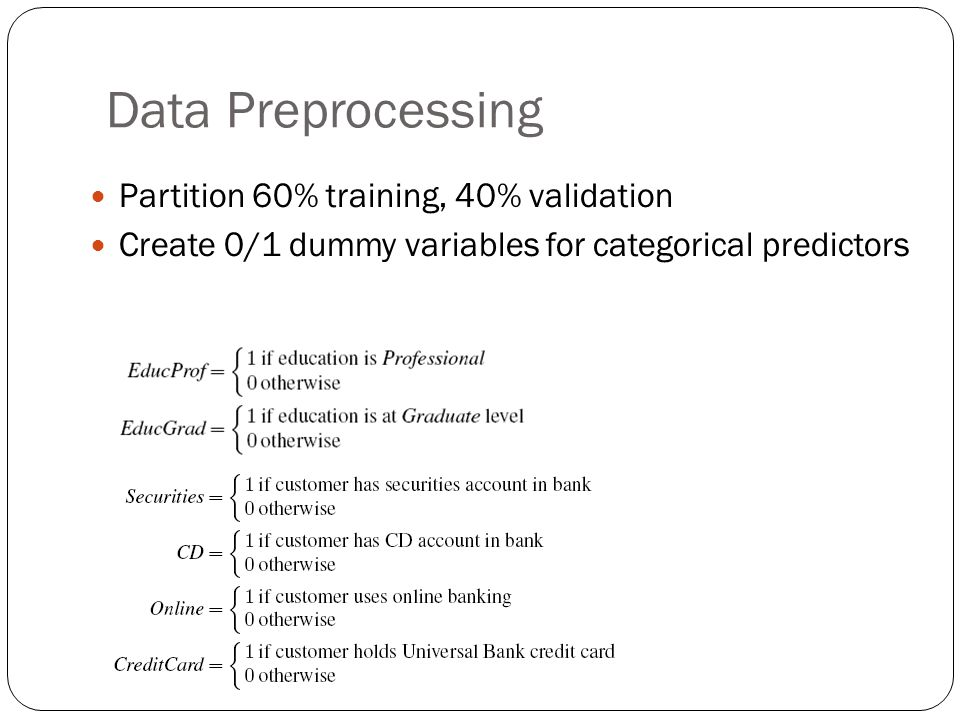 Data Preprocessing Partition 60% training, 40% validation