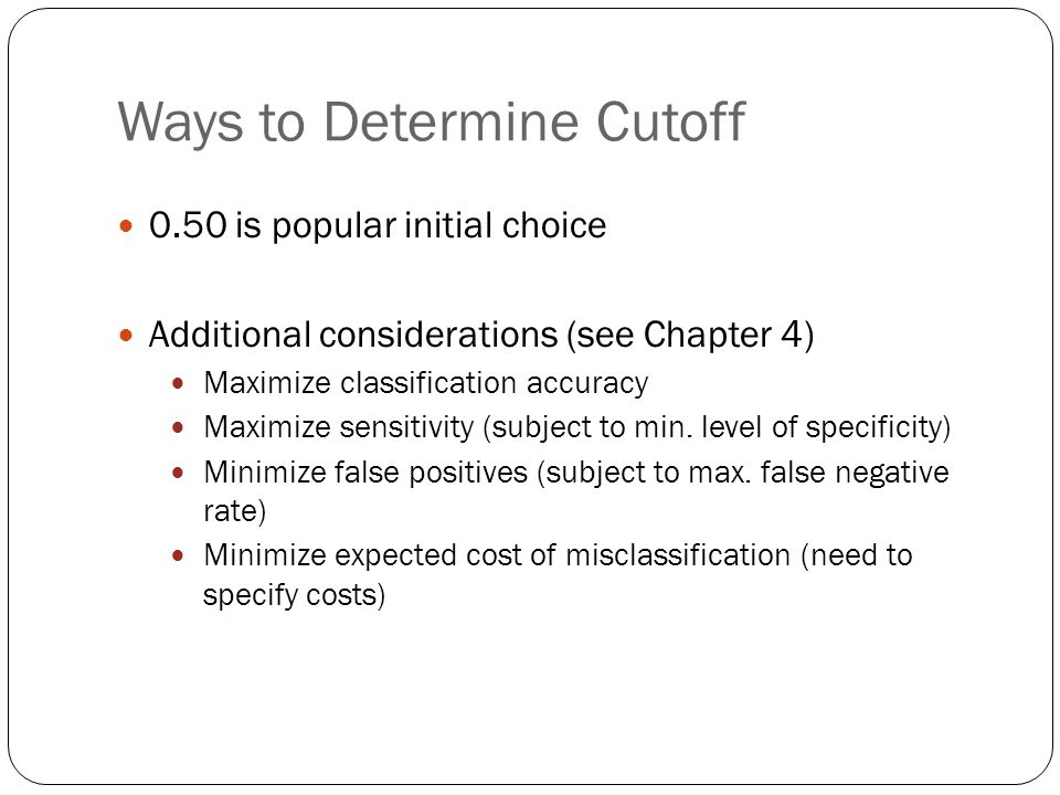 Ways to Determine Cutoff