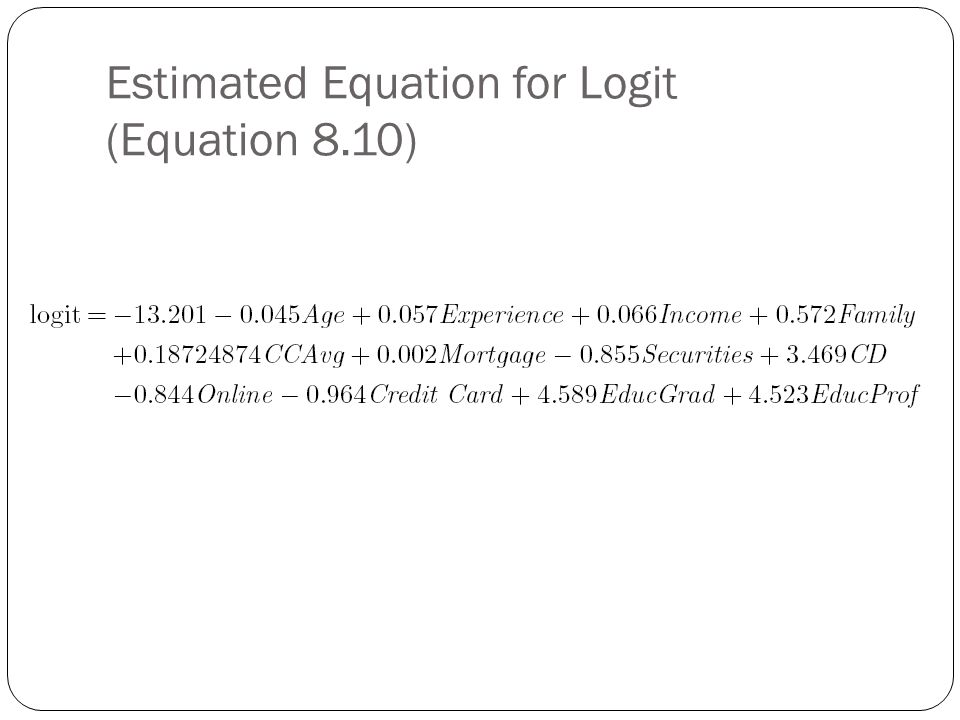 Estimated Equation for Logit (Equation 8.10)