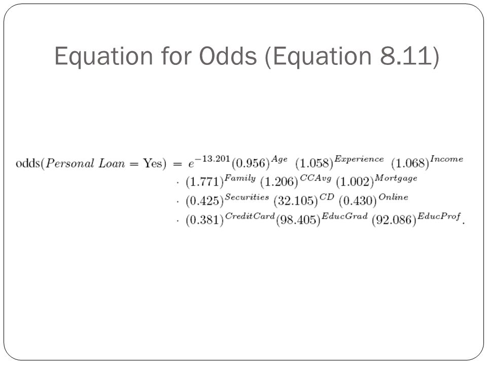 Equation for Odds (Equation 8.11)