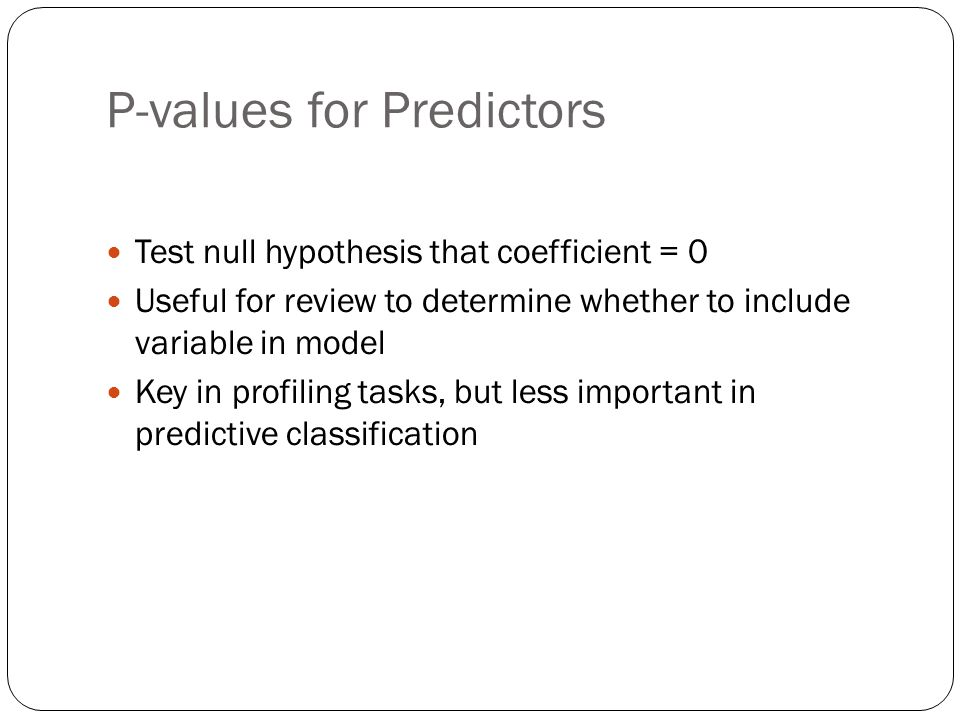 P-values for Predictors