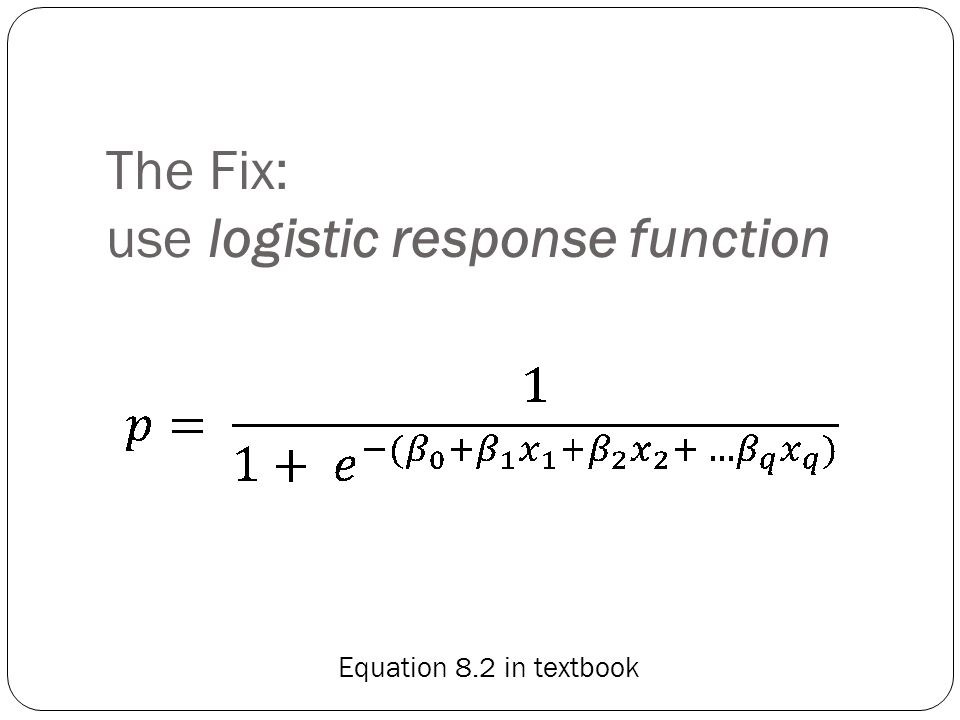 The Fix: use logistic response function