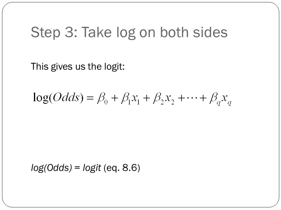 Step 3: Take log on both sides