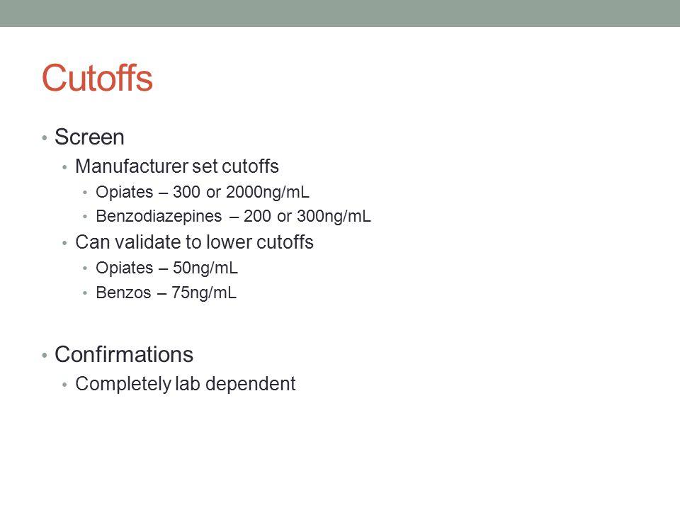 Cutoffs Screen Confirmations Manufacturer set cutoffs
