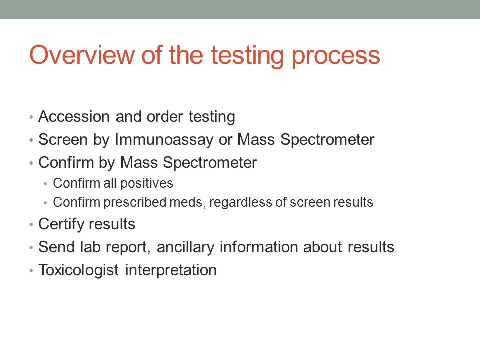 Overview of the testing process