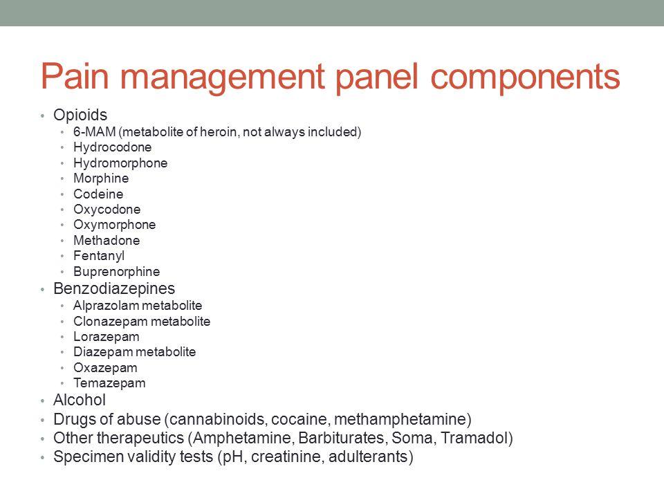 Pain management panel components
