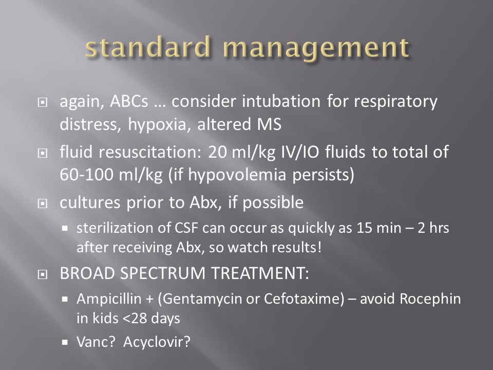 standard management again, ABCs … consider intubation for respiratory distress, hypoxia, altered MS.
