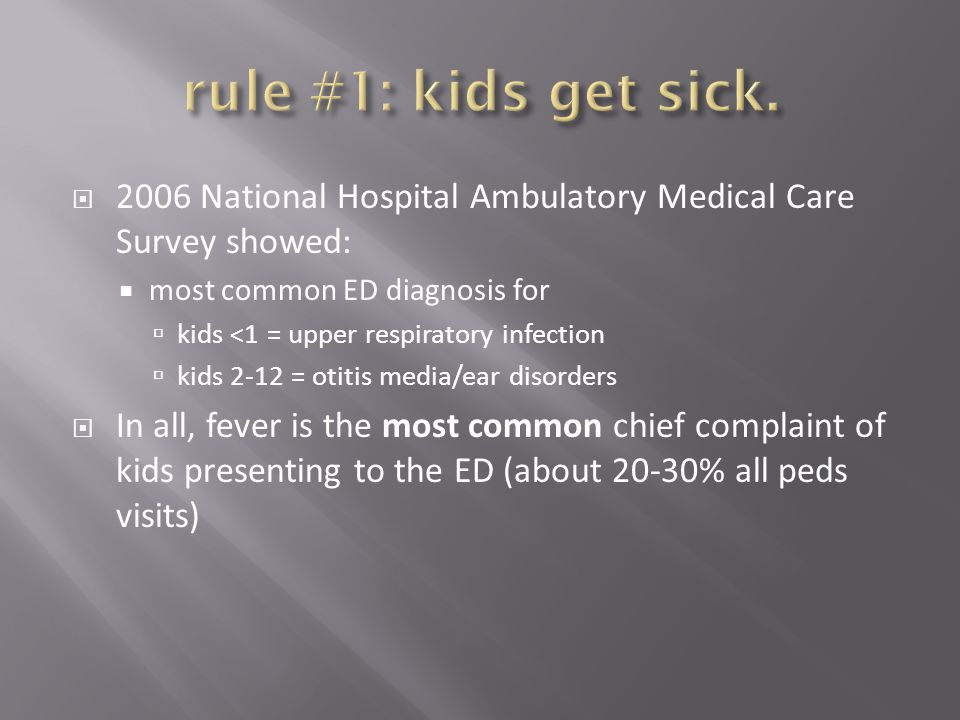 rule #1: kids get sick. 2006 National Hospital Ambulatory Medical Care Survey showed: most common ED diagnosis for.