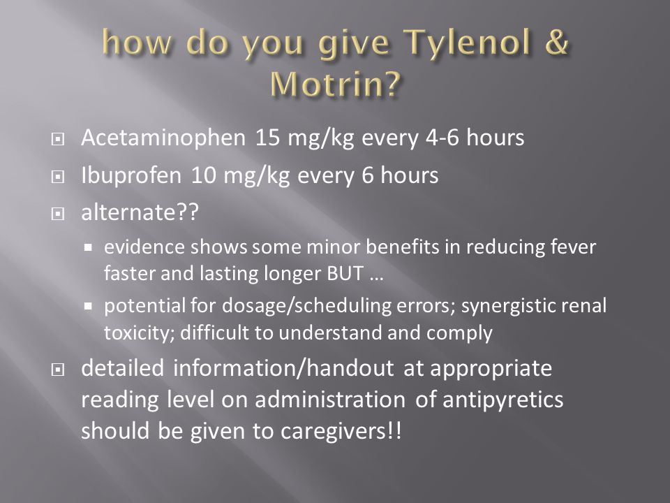how do you give Tylenol & Motrin