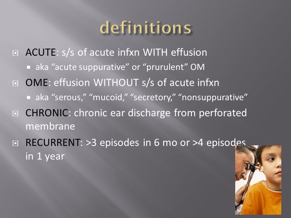 definitions ACUTE: s/s of acute infxn WITH effusion