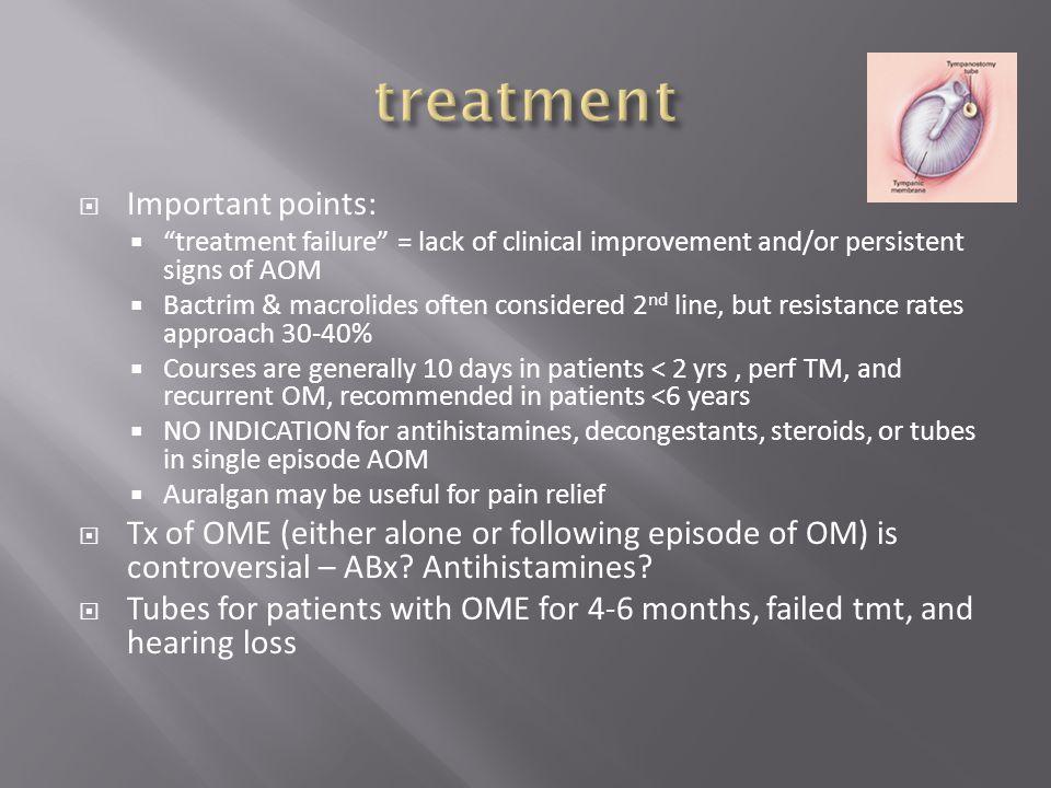 treatment Important points:
