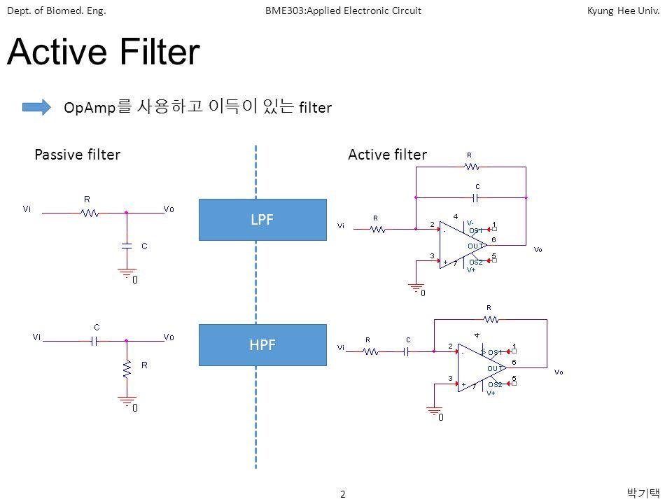 Active Filter OpAmp를 사용하고 이득이 있는 filter Passive filter Active filter