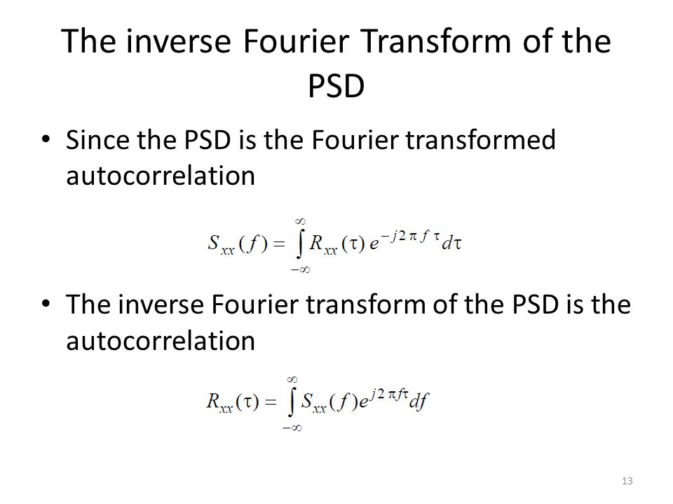 The inverse Fourier Transform of the PSD