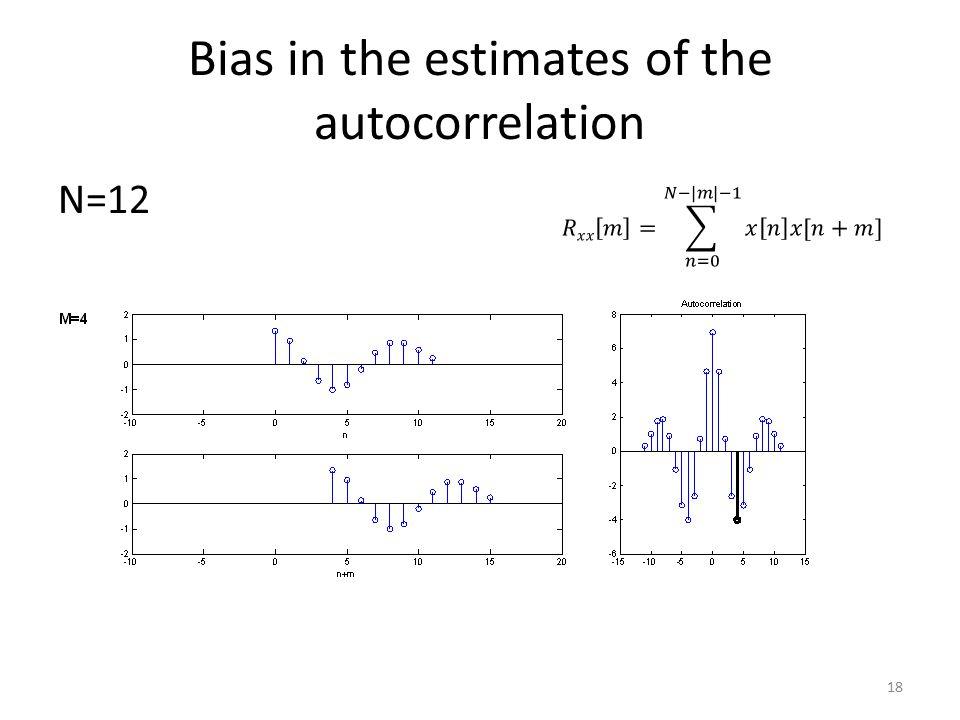 Bias in the estimates of the autocorrelation