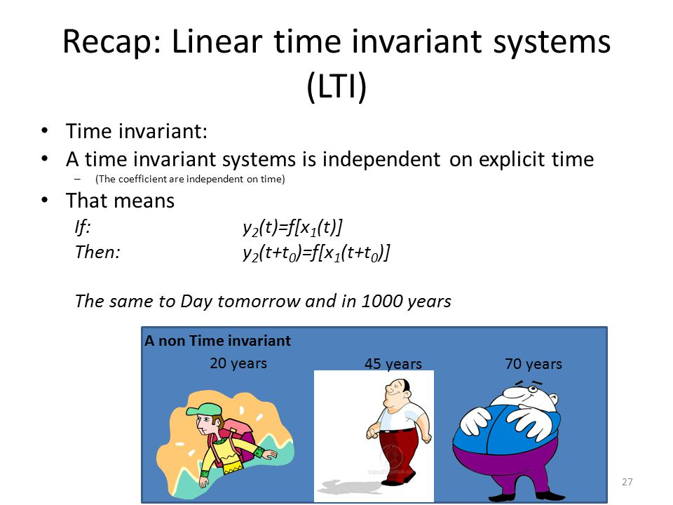 Recap: Linear time invariant systems (LTI)