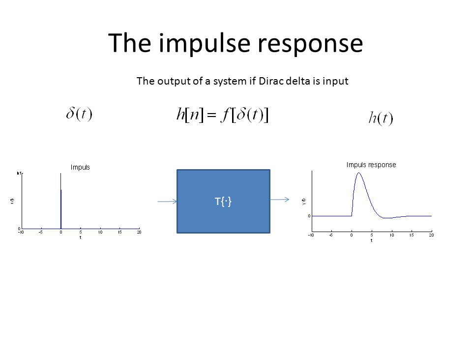 The impulse response The output of a system if Dirac delta is input
