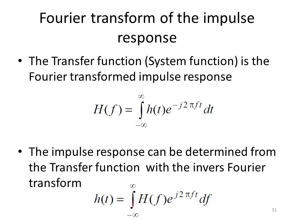 Fourier transform of the impulse response