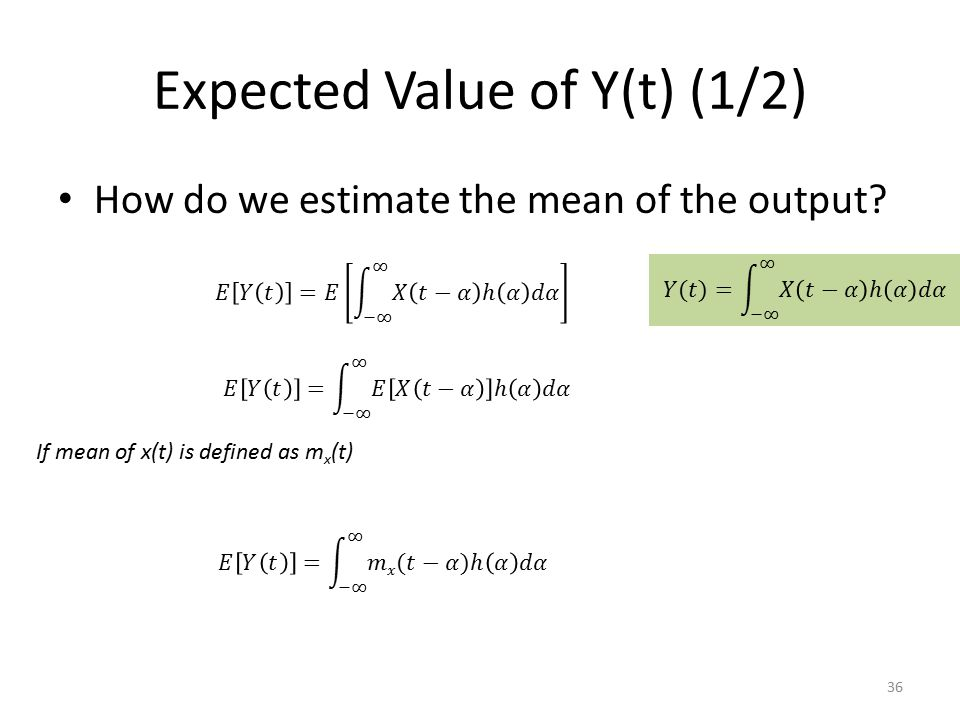 Expected Value of Y(t) (1/2)