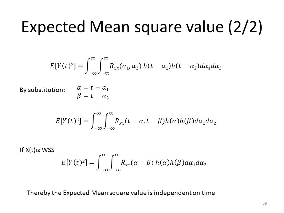 Expected Mean square value (2/2)