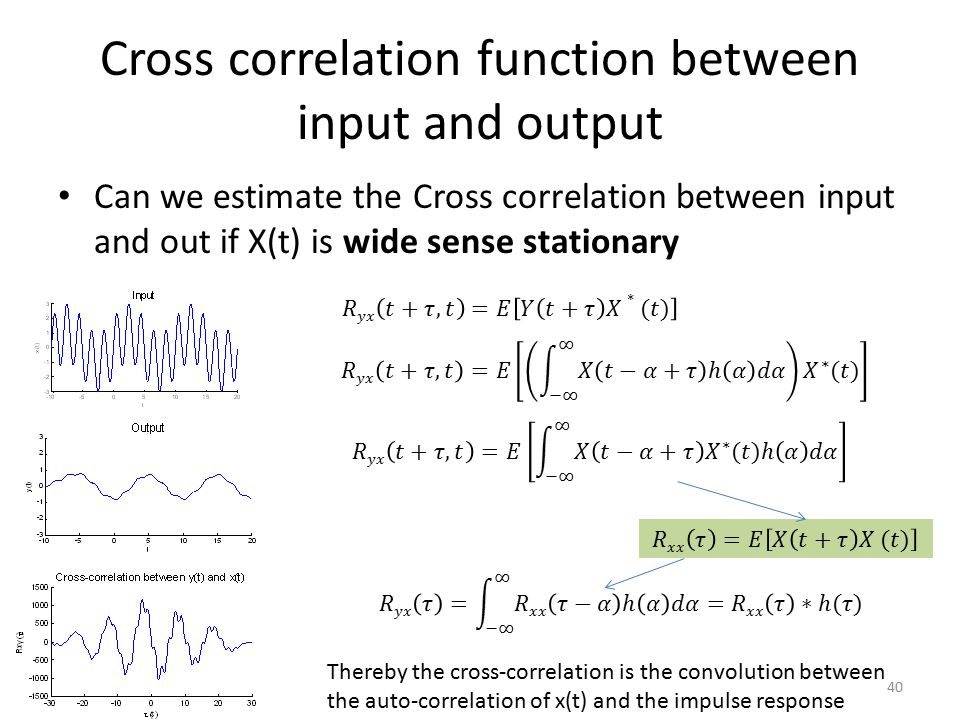 Cross correlation function between input and output
