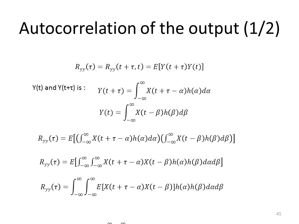Autocorrelation of the output (1/2)