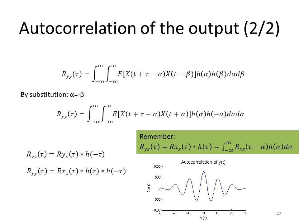Autocorrelation of the output (2/2)
