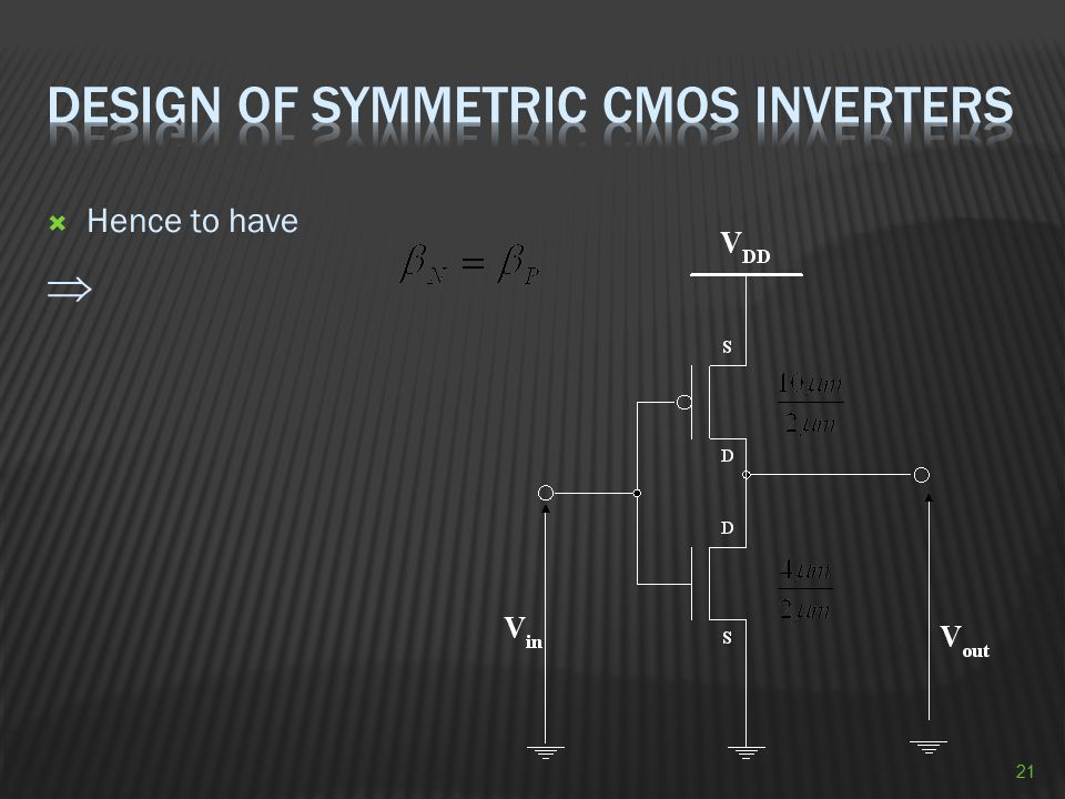 Design of Symmetric CMOS Inverters