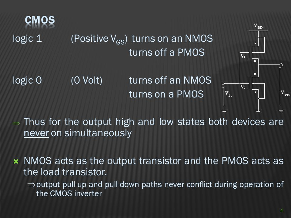 CMOS logic 1 (Positive VGS) turns on an NMOS turns off a PMOS
