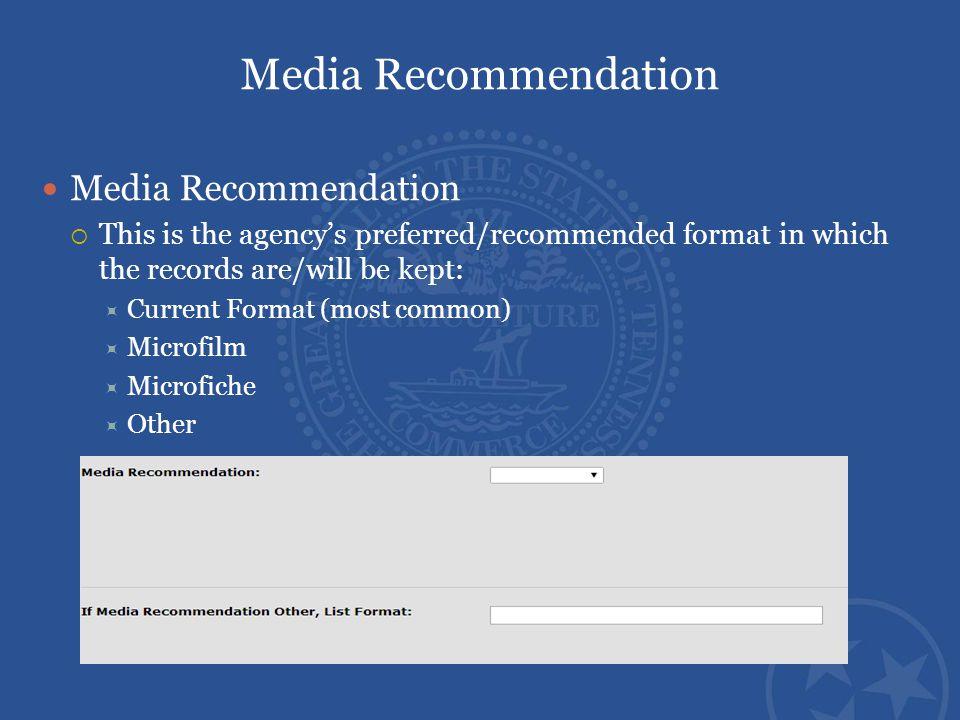 Media Recommendation Media Recommendation