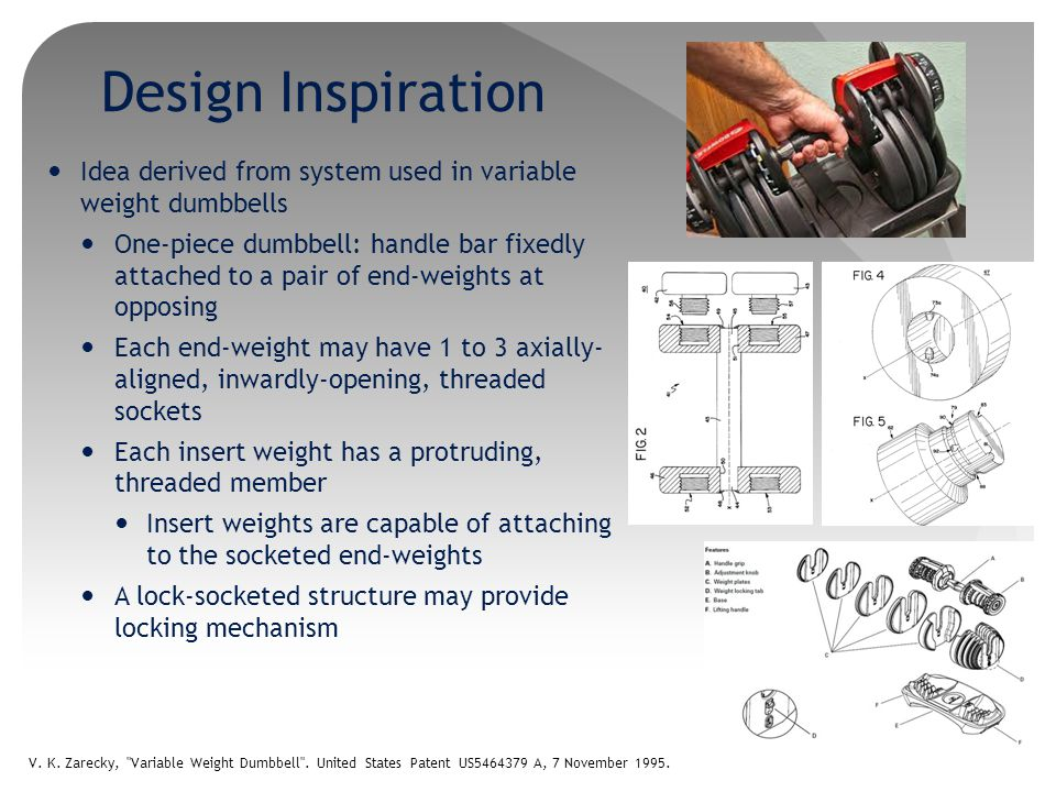 Design Inspiration Idea derived from system used in variable weight dumbbells.