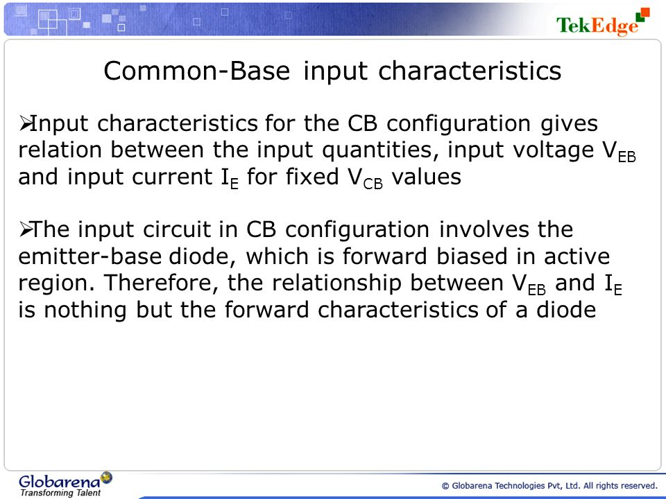 Common-Base input characteristics