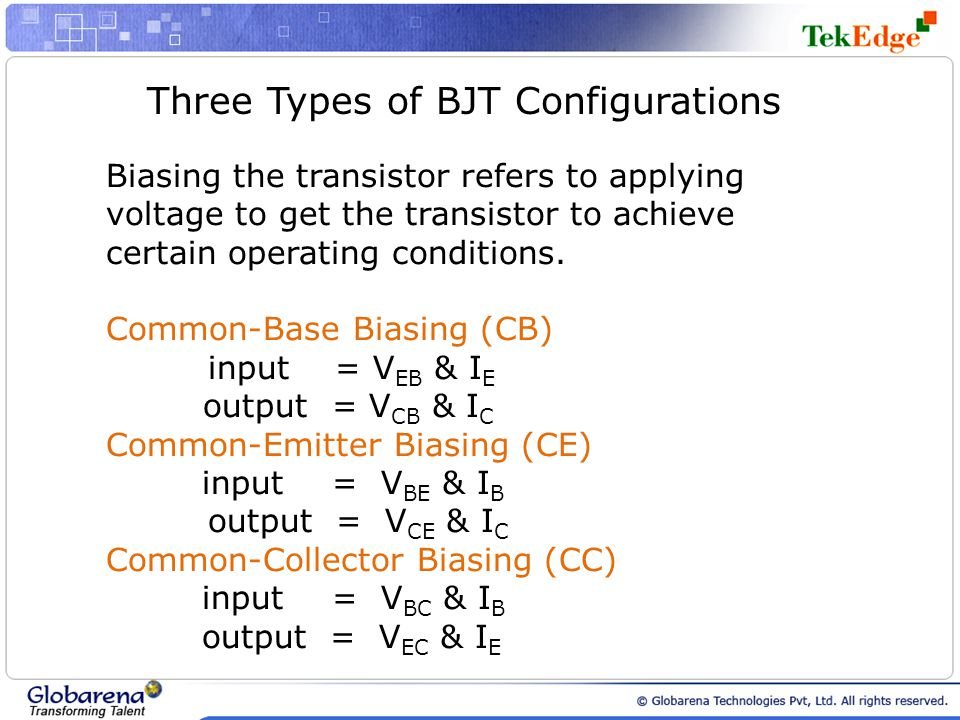 Three Types of BJT Configurations