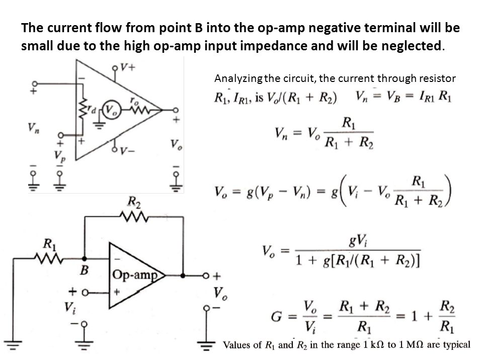 The current flow from point B into the op-amp negative terminal will be small due to the high op-amp input impedance and will be neglected.