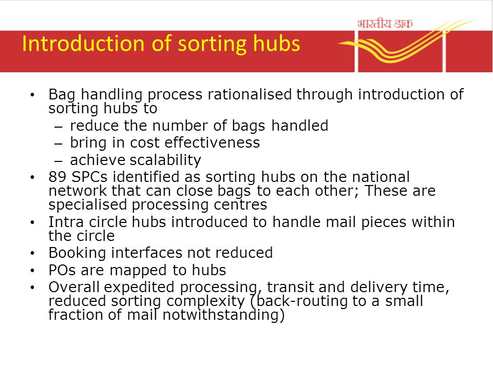 Introduction of sorting hubs