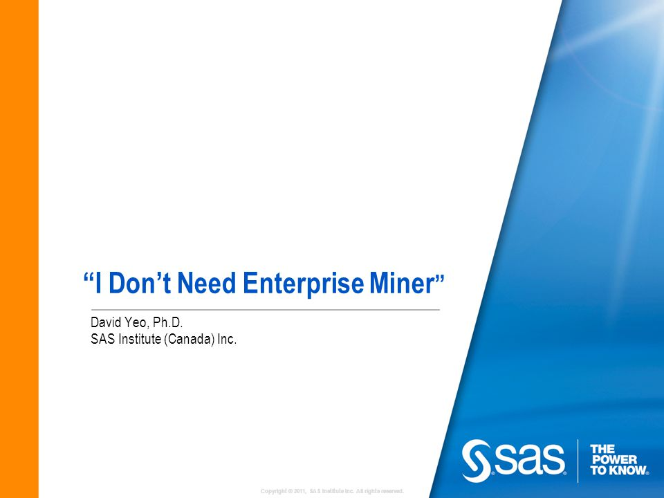I Don't Need Enterprise Miner