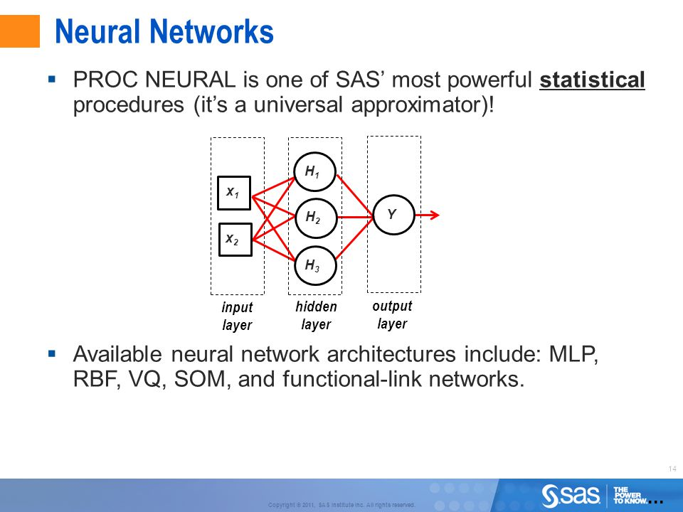 Neural Networks PROC NEURAL is one of SAS' most powerful statistical procedures (it's a universal approximator)!