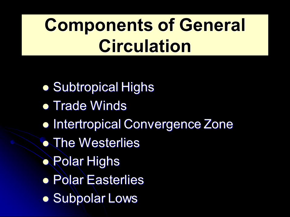 Components of General Circulation