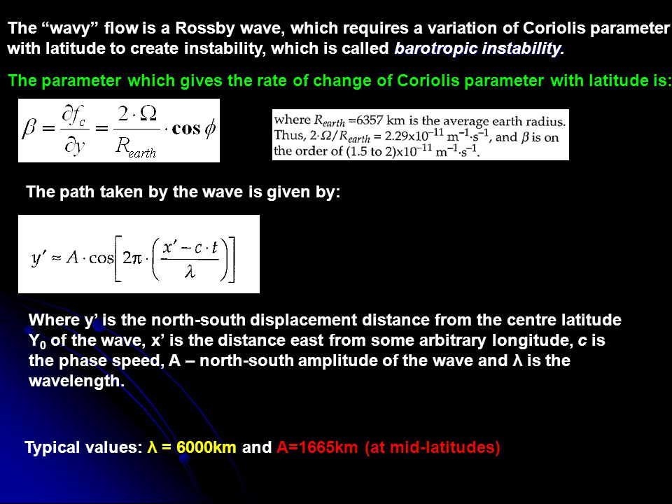 The wavy flow is a Rossby wave, which requires a variation of Coriolis parameter