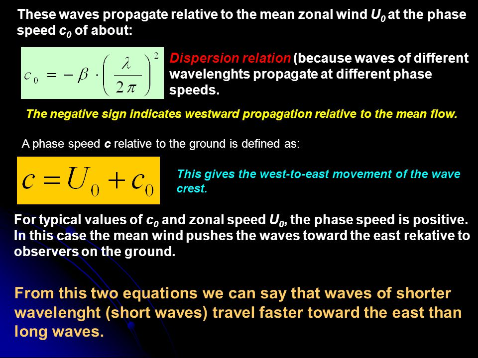 These waves propagate relative to the mean zonal wind U0 at the phase speed c0 of about:
