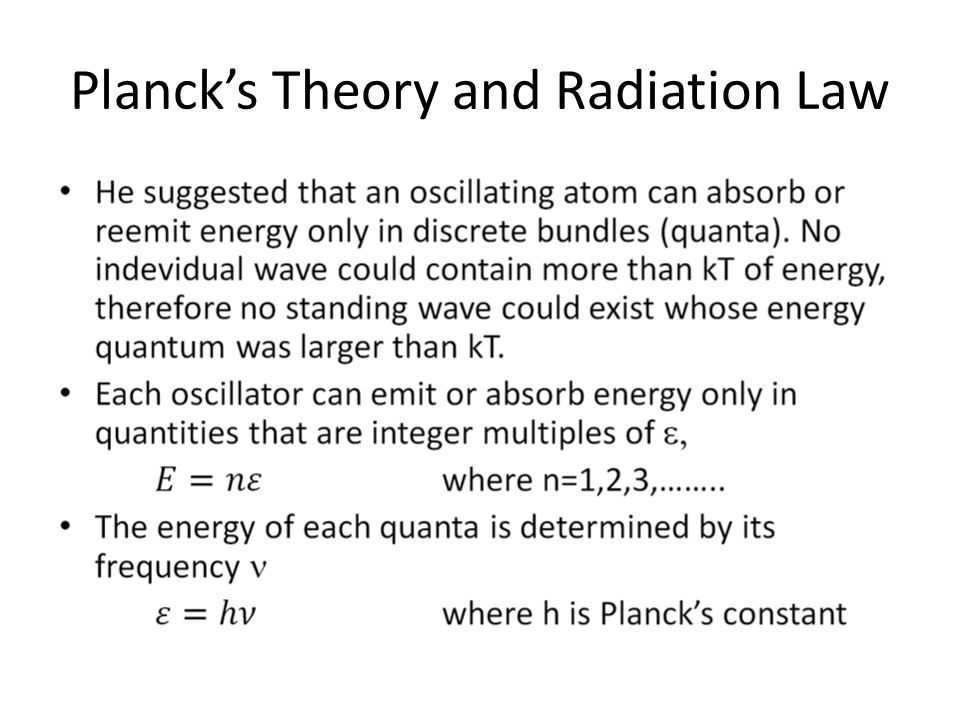 Planck's Theory and Radiation Law