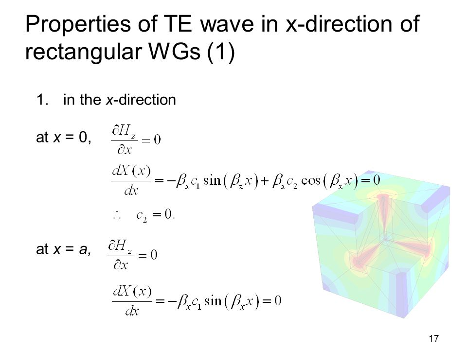 Properties of TE wave in x-direction of rectangular WGs (1)