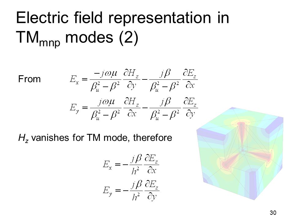 Electric field representation in TMmnp modes (2)