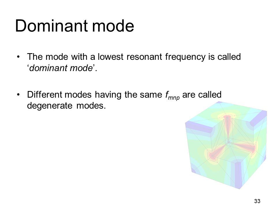 Dominant mode The mode with a lowest resonant frequency is called 'dominant mode'.