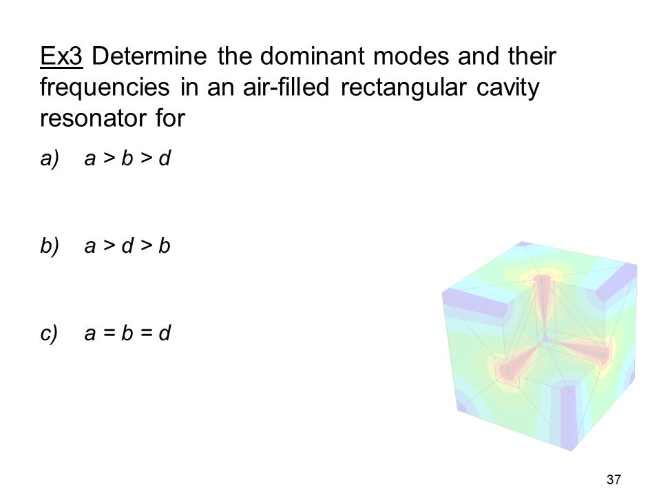 Ex3 Determine the dominant modes and their frequencies in an air-filled rectangular cavity resonator for