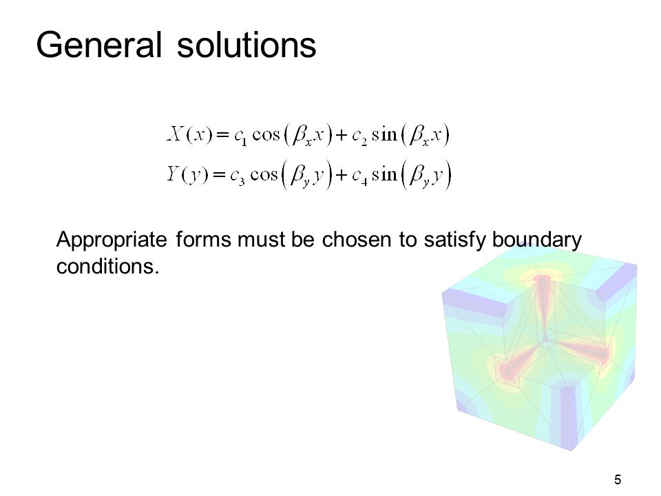 General solutions Appropriate forms must be chosen to satisfy boundary
