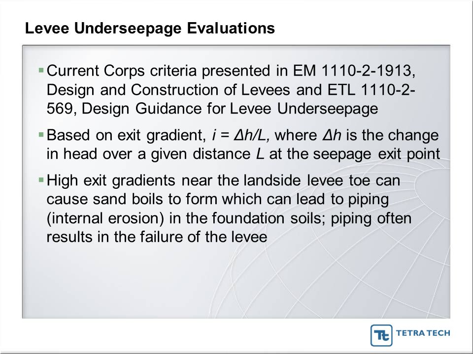 Levee Underseepage Evaluations