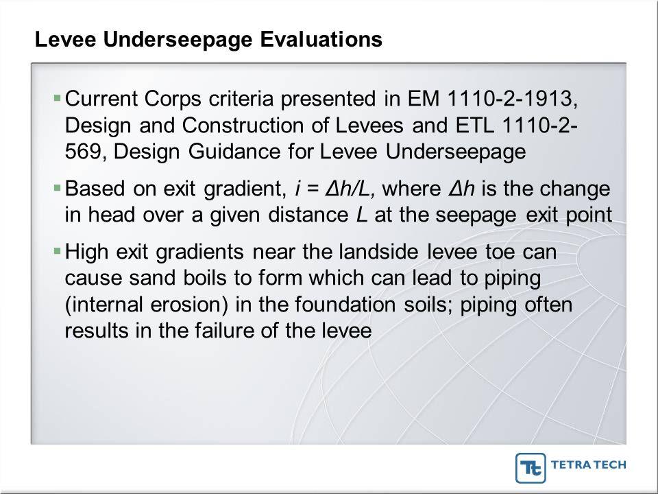 Levee Underseepage Evaluations