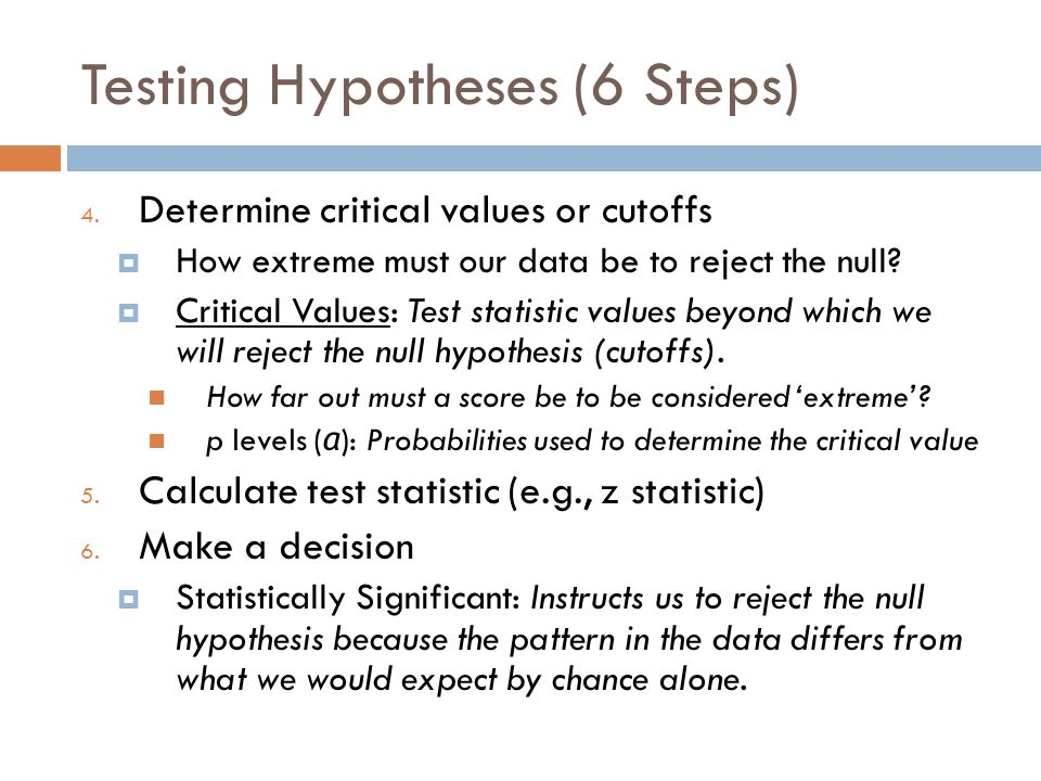 Testing Hypotheses (6 Steps)