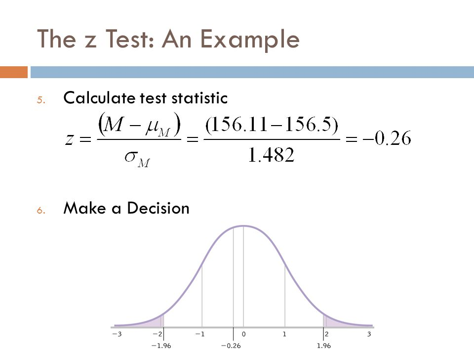 The z Test: An Example Calculate test statistic Make a Decision